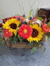 Burlap & Mason Jars Vase Arrangement