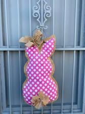 Burlap Pink Bunny Door Hanger