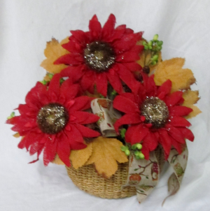 Burlap Sunflower Basket Permanent Arrangement by Inspirations Floral Studio in Lock Haven, PA | INSPIRATIONS FLORAL STUDIO