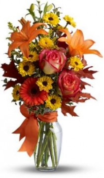 Burst of Autumn Vase of Flowers