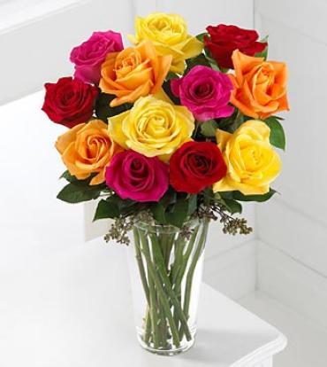 Burst of Color Rose Arrangement