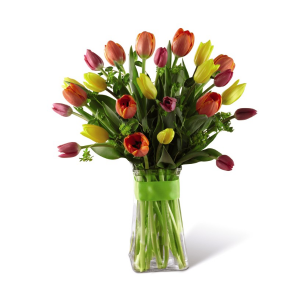 Burst of Color Tulips Vased Arrangement in Warman, SK | QUINN & KIM'S FLOWERS