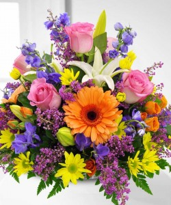 Burst Of Colour Basket Arrangement