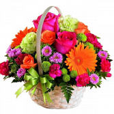 Burst Of Color Basket Centerpiece