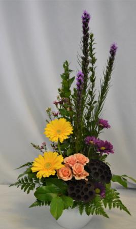 BURST OF STYLE FRESH FLOWER ARRANGEMENT - see description
