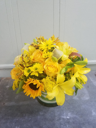 Burst of Sunshine Glass Cylinder Arrangement
