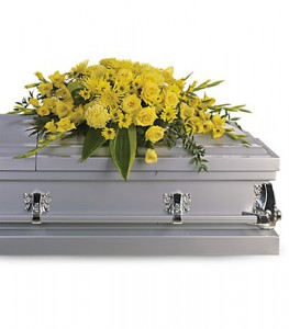 BURST OF SUNSHINE   Half Casket Spray of roses, fugis, carnations, snapdragons, daisies and more