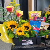 Burst of Sunshine in a Tool Box  Flowers Goodies and Balloons
