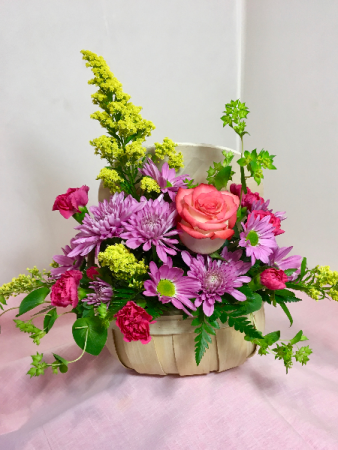 Bursting With Blooms Wood Basket With Lid / Handle
