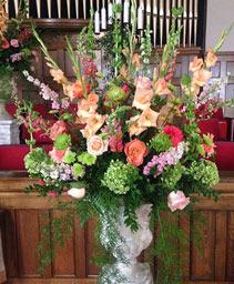 Bursting Pink & Green Table Arrangement