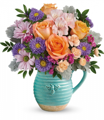 Busy Bee Pitcher Bouquet All-Around Floral arrangement
