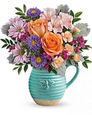 Busy Bee Pitcher  Vase Arrangement