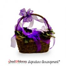Butterflies & Violets Floral Basket