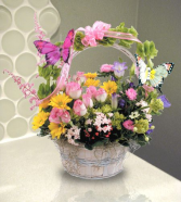 Butterfly Basket Basket Arrangement...Butterflies May Vary In Color
