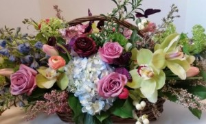 Butterfly Basket oblong basket arrangement in Northport, NY | Hengstenberg's Florist