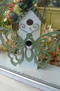 "Butterfly Birdhouse $40.00  Wood & Metal 12"" high"