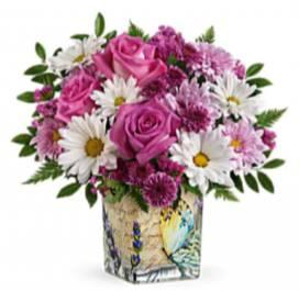 Butterfly bouquet Glass cube in Fairfield, OH | NOVACK-SCHAFER FLORIST