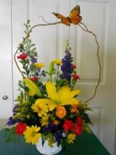 Butterfly Garden Basket Arrangement