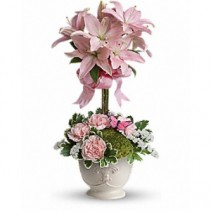 Butterfly Garden Topiary Topiary Arrangement..Pink Lilies May Variey In Colour