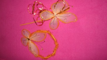 butterfly halo/wand hair piece