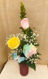 Butterfly Kisses Rose Vase