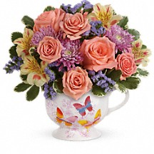Butterfly Sunrise Mug Floral Bouquet in Whitesboro, NY | KOWALSKI FLOWERS INC.