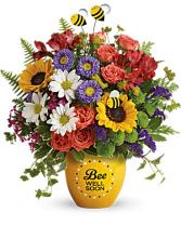 Buzzing Bee Well Pot of Flowers