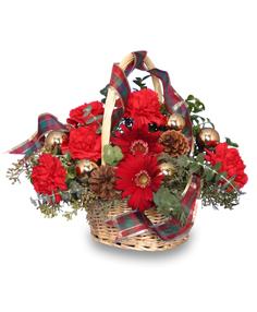 YULETIDE BASKET Basket of Flowers