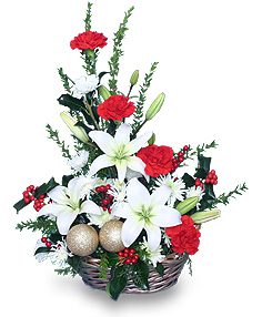 old fashioned christmas flower arrangement