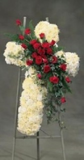 cross in red and white standing funeral cross