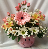 Cute Pink Happy Face container for a Baby girl  arrangement in pinks and whites!