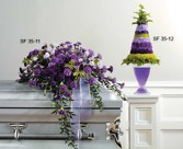 CASKET SPRAY WHITE  PURPLE