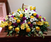 C#28 Yellow and Purple spray  Funeral
