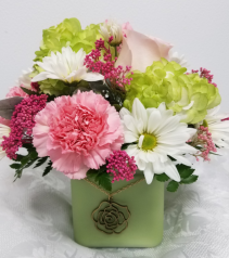 Cabana Charm Bouquet Frosted Glass Cube Vase Arrangement