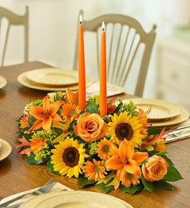 California Fields, Holiday Favorite! Traditional Centerpiece with Taper Candles in Gainesville, FL | PRANGE'S FLORIST