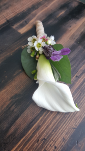 Calla and Lavender Boutonniere