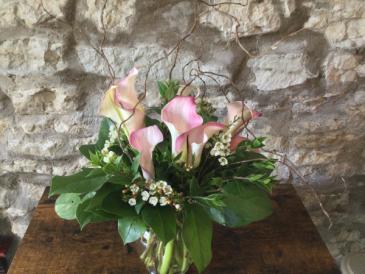 Pink Calla Bouquet Vased Arrangement