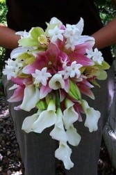 CALLA LILIES, LILIES, STEPHANOTIS, ORCHIDS WEDDING BOUQUET