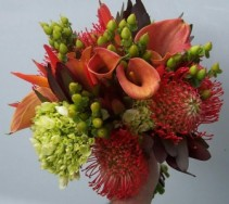 CALLA LILIES, PROTEA, MINI GREEN HYDRANGEA, SAFARI TROPICAL BOUQUET