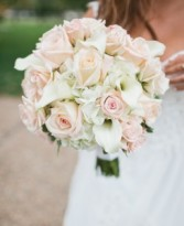 Calla Lilies, Roses & Hydrangea Bridal Bouquet