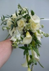 CALLA LILIES, ROSES, STOCK, VERONICA WEDDING BOUQUET