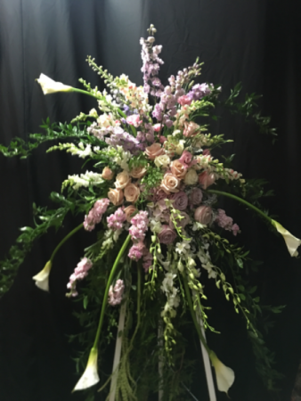 Calla Lillies and Roses Standing Spray