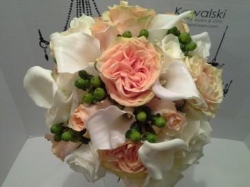 Calla Lillies & Garden Roses Bridal Bouquet