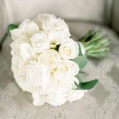 Calla Lily and Roses Hand Tied Bridal Bouquet