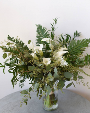Greenery and Calla Lily Handtied Bridal Bouquet