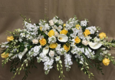 Callas, Orchids and Roses Casket Spray