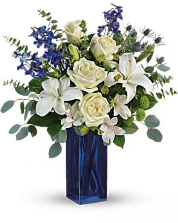 Calming Cobalt flower arrangement