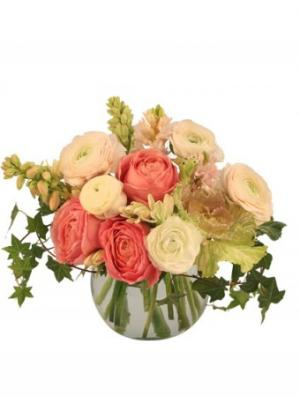 Calming Coral Arrangement in Oakville, ON | ANN'S FLOWER BOUTIQUE-Wedding & Event Florist