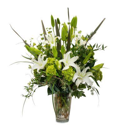 Calming Greens and Whites Vase Arragement