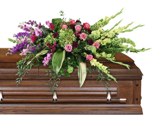 Calming Memories Casket Spray in Bethel, CT | BETHEL FLOWER MARKET OF STONY HILL